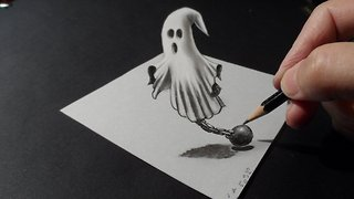 How to draw a 3D ghost - Video