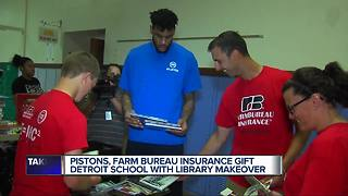 Detroit Pistons, Farm Bureau Insurance gift school with library makeover - Video