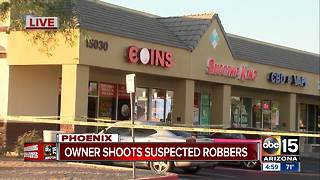 Phoenix business owner shoots at suspected robbers - Video