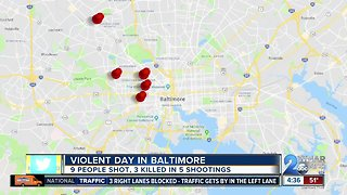 Several violent shootings plague Baltimore City on Tuesday