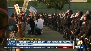 San Diego protesters march in Balboa Park