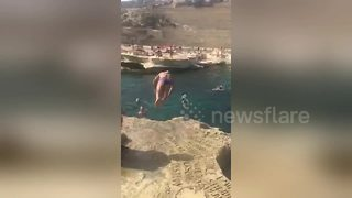 Puppy and owner make for unlikely synchronised diving pair - Video