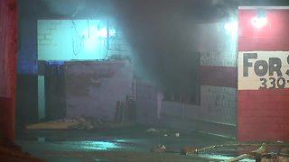 Firefighters battle fire at former Akron bowling alley