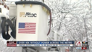 Crews continue work as thousands still without power Monday