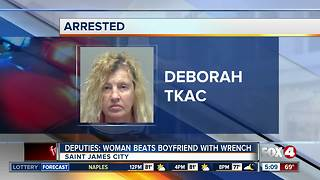 Deputies: Woman attacks man with pipe wrench - Video