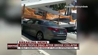 Four dead in pedestrian bridge collapse at university in Miami, authorities say - Video