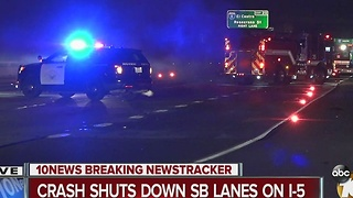Crash shuts down SB lanes on I-5 - Video