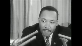 Martin Luther King Jr. speaks at a news conference at the Milwaukee Auditorium - Video