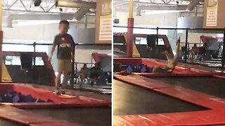 Hilarious Moment Kid Falls Backwards Off Trampoline While Trying To Do Backflip