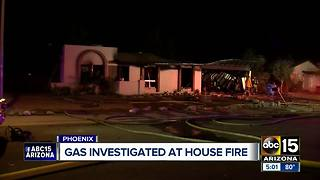 House catches fire in north Phoenix, odor of natural gas detected - Video