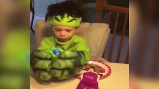 Little Boy Doesn't Want To Take Off His Hulk Gloves - Video