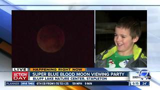 Families gather in Stapleton to view rare Super Blue Blood Moon - Video
