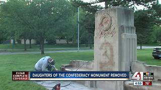 City crews remove Confederate monument on Ward Parkway - Video
