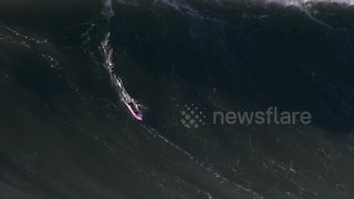 """Ghost Rider"" charges a big wave in Nazaré, Portugal - Video"