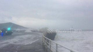 Huge waves batter Wales coastline - Video