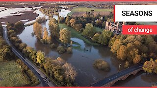 Heavy rainfall has caused the river to burst its banks in Newark, Nottinghamshire.