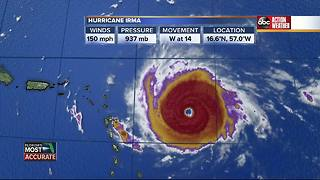 'Dangerous' Hurricane Irma's winds increase to 150 mph, still Cat 4 - Video