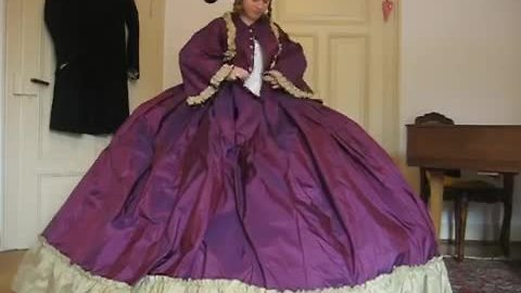 How to put on a hoop skirt and crinoline dress