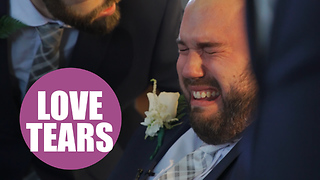 Wheelchair-bound groom is overcome with emotion as his bride walks down the aisle