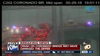 Crash on Coronado Bridge may have damaged the zipper - Video