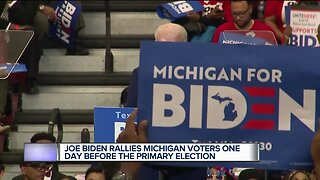 Joe Biden rallies Michigan voters one day before the primary election