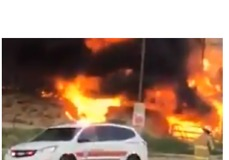 Fire Engulfs Warehouse Next to Filling Station in Gallup, New Mexico - Video