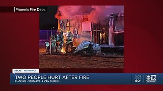Two hurt in mobile home fire