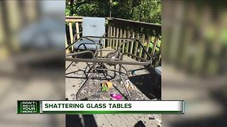 Warning about shattering glass tables