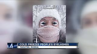 People post pictures of frozen eyelashes - Video