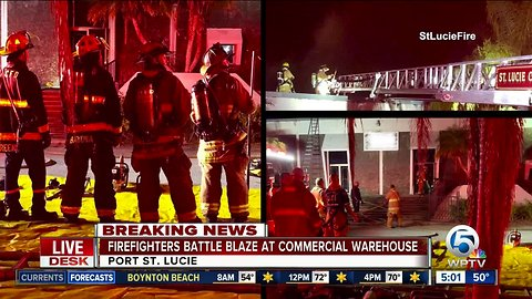 Fire crews battle overnight blaze in Port St. Lucie