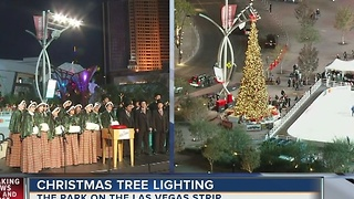 Christmas tree lit at The Park near T-Mobile Arena - Video
