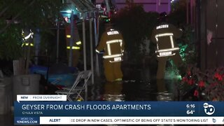 Sheared fire hydrant floods apartments in Chula Vista