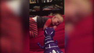 Adorable Tot Boy Afraid To Touch The Dinosaur Toy - Video