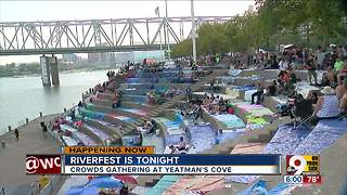 Crowds gather at Yeatman's Cove ahead of Western & Southern/WEBN Fireworks - Video