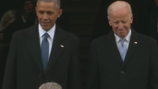President Barack Obama, Vice President Joe Biden arrive at the presidential inauguration of Donald Trump