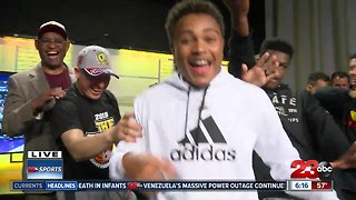 Foothill boys basketball celebrating state championship in house