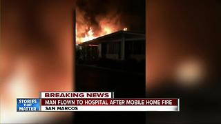 Mobile home catches fire in San Marcos - Video
