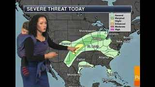 Meteorologist Delivers Forecast With a Baby on Her Back - Video