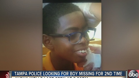 Tampa police are searching for a boy who is missing for the second time