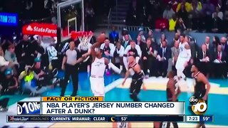 NBA player's jersey number changed after dunk?