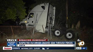 Driver arrested after semi-truck crashes through fences in Vista