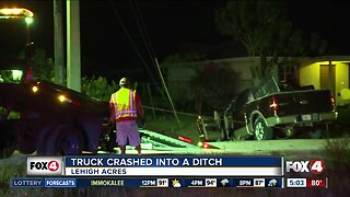 Truck into a ditch in Lehigh Acres