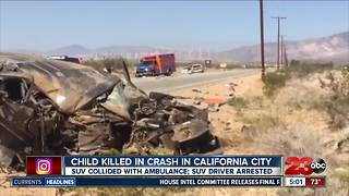 Child killed in crash in California City - Video