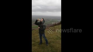 UK man denied drink of water by Storm Gareth while hiking - Video