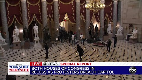Chaos at the US Capitol as protesters breach the grounds