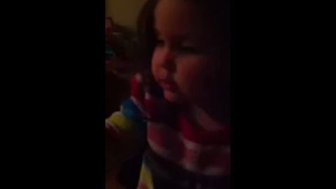 A cute child decides to create her own song