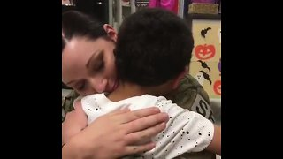 Mom surprises son at school after returning from active duty