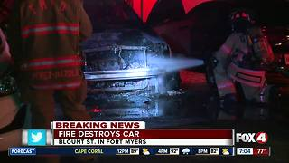 Fire destroys car in Fort Myers - Video