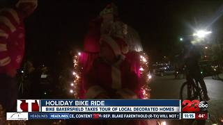Father and son duo take on Bike Bakersfield's annual Holiday Lights Ride in style - Video