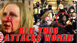 BLM Agitator Sucker Punches Woman Trump Supporter, Police Protect BLM!